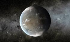 Ilustração mostra uma possível aparência do planeta extrassolar Kepler-62f caso seja habitável Foto: NASA/JPL-Caltech/T. Pyle