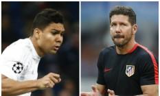 O brasileiro Casemiro, do Real Madrid, e o argentino Simeone, técnico do Atlético, serão duas das atrações da final da Liga dos Campeões Foto: Agências internacionais