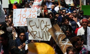 Manifestantes protestam contra Trump em San Diego Foto: SPENCER PLATT / AFP