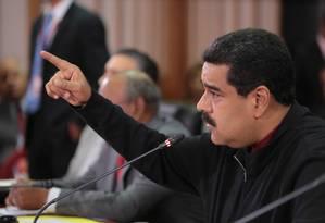 Presidente Nicolás Maduro discursa durante o 16º Conselho Ministerial PetroCaribe em Caracas Foto: HANDOUT / REUTERS