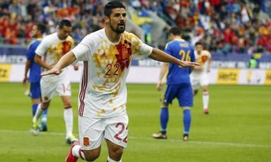 Nolito marcou dois gols nos 3 a 1 da Espanha sobre a Bósnia e Herzegovina em amistoso na Suíça Foto: ARND WIEGMANN / REUTERS