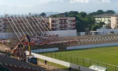 Obras avançam na arquibancada atrás do gol na Arena Botafogo Foto: Divulgação