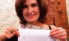 A apresentadora Fátima Bernardes apoia a campanha #PõeNoRótulo, que pede que os produtos tenham em suas embalagens os ingredientes que podem provocar alergia Foto: Reprodução da internet