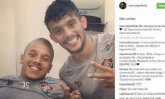 Marcos Júnior, à esquerda, e Scarpa selaram a paz após desentendimento Foto: Reprodução