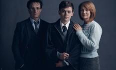 Jamie Parker (Harry), Sam Clemmett (Alvo Severo) e Poppy Miller (Gina): a família Potter no teatro Foto: Divulgação