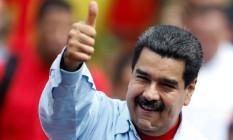 """Nicolás Maduro durante comício em Caracas. Presidente classificou aplicação da Carta Democrática como """"ameaça internacional"""" Foto: CARLOS GARCIA RAWLINS / REUTERS"""