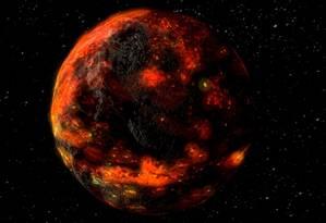 Representação artística mostra o oceano de magma lunar logo após a formação da Lua Foto: Nasa/ GSFC
