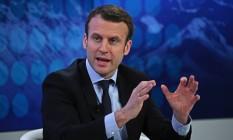 Emmanuel Macron, ministro francês da Economia Foto: Matthew Lloyd / Bloomberg