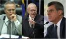 O presidente do Senado, Renan Calheiros; o ex-presidente da República, José Sarney; e o senador Romero Jucá: cúpula do PMDB Foto: Montagem