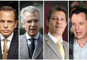 João Doria, Andrea Matarazzo, Fernando Haddad e Celso Russomanno, da esquerda para a direita Foto: Montagem sobre fotos