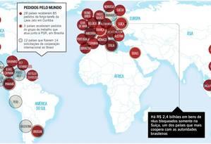 Mapa mostra os pedidos da Operação Lava-Jato pelo mundo Foto: Editoria de Arte