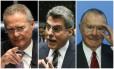 O presidente do Senado, Renan Calheiros (PMDB-AL), o senador Romero Jucá (PMDB-RR), e o ex-presidente da República José Sarney (PMDB-AP)