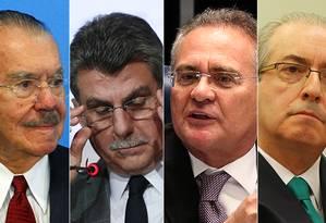 PGR pede a prisão de Sarney, Jucá, Renan e Cunha Foto: Arte/O GLOBO