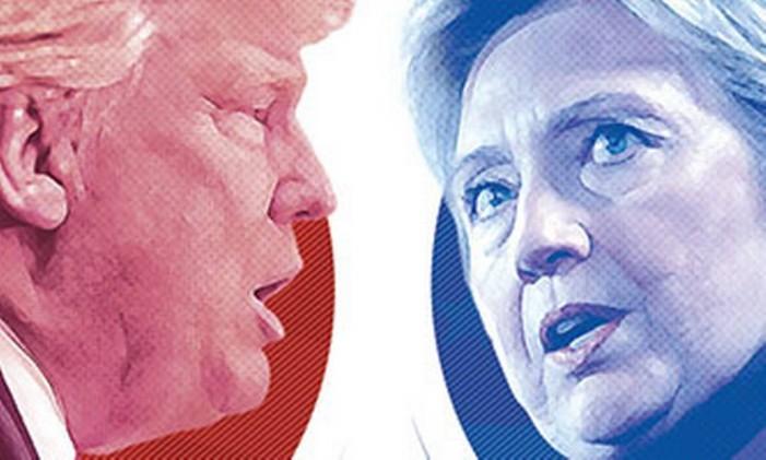 Trump e Hillary Foto: Editoria de arte
