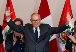 Pedro Pablo Kuczynski faz discurso após resultado da eleição peruana Foto: MARIANA BAZO / REUTERS