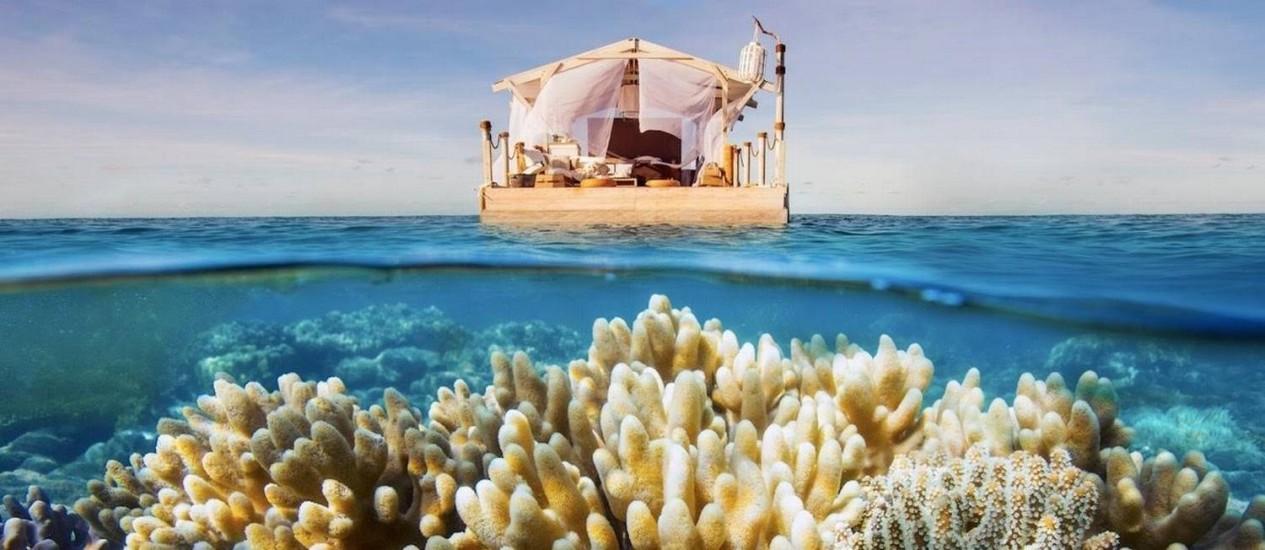 Airbnb: um noite naa Grande Barreira de Corais da Austrália Foto: Divulgação/Airbnb