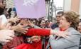A presidente afastada Dilma Rousseff em Porto Alegre