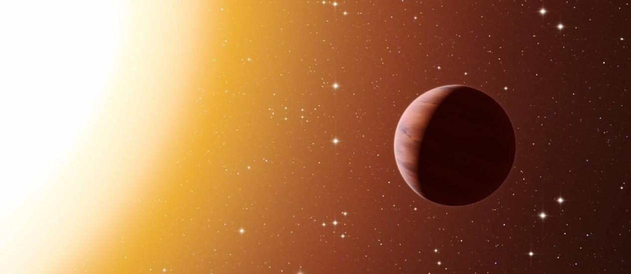 Ilustração de um planeta do tipo Júpiter quente: condições em aglomerado seriam favoráveis à migração destes planetas para perto de suas estrelas Foto: ESO/L. Calçada