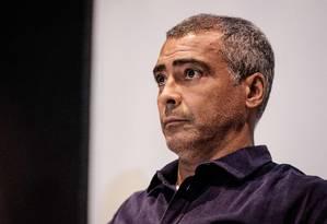 O senador Romário (PSB-RJ) é pré-candidato à prefeitura do Rio Foto: Yasuyoshi Chiba / 20-6-2016 / AFP