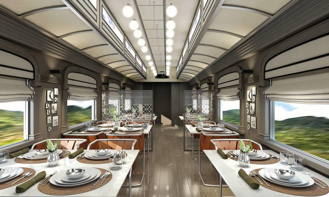 Restaurante do trem, que fará sua primeira viagem em maio de 2017 Foto: Divulgação