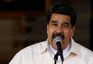 Presidente Venezuelano, Nicolás Maduro, faz discurso a seus apoiadores em comício de Caracas Foto: CARLOS GARCIA RAWLINS / REUTERS