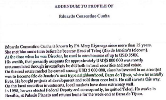 Perfil de Eduardo Cunha no Banco Suíço Foto: Reprodução