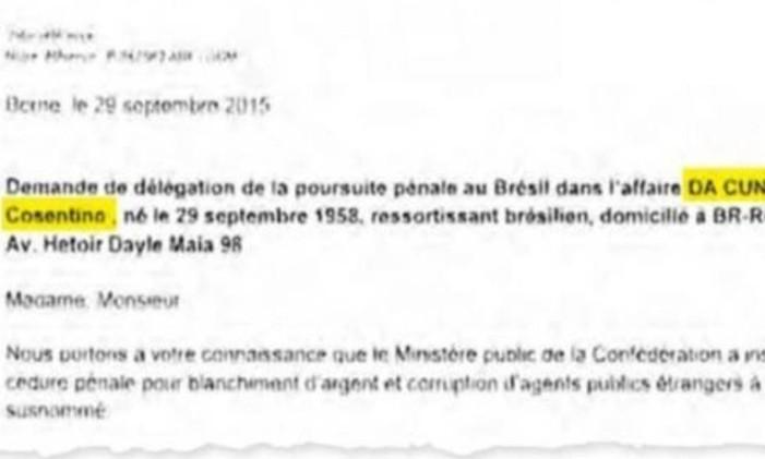 Documento mostra que Eduardo Cunha como beneficiário da conta Foto: Reprodução