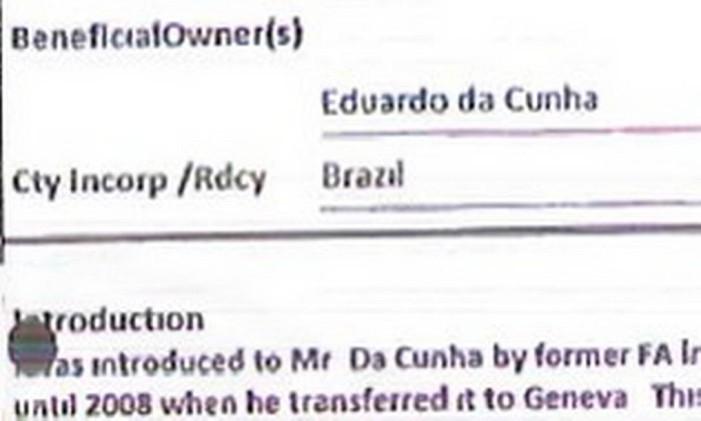 Formulário indica Cunha como beneficiário de conta Foto: Reprodução
