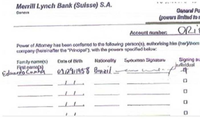 Documento mostra Cunha como titular de conta Foto: Reprodução
