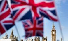 Bandeira do Reino Unido em Londres Foto: Jason Alden/Bloomberg / Jason Alden/Bloomberg