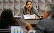 A última testemunha a ser ouvida hoje pela Comissão Especial do Impeachment, a ex-secretária de Orçamento Federal Esther Dweck Foto: Ailton Freitas / Agência O Globo