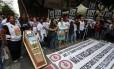 O protesto dos servidores no Centro do Rio