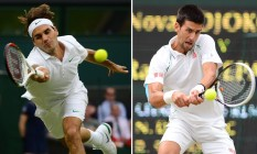 Federer, sete vezes campeão em Wimbledon, pode enfrentar Djokovic, atual campeão, nas semifinais do torneio neste ano Foto: LEON NEAL / AFP