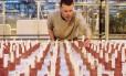 O cientista Wieger Wamelink, da Universidade de Wageningen, na Holanda, inspeciona vegetais plantados em solo similiar ao de Marte