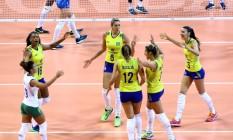 A seleção feminina de vôlei venceu a Itália por 3 a 1 Foto: Divulgação/FivB