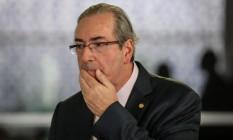 O presidente da Câmara afastado do cargo, deputado Eduardo Cunha (PMDB-RJ) Foto: André Coelho / Agência O Globo / 10-11-2015