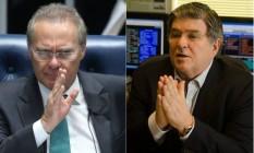 O presidente do Senado, Renan Calheiros (PMDB-AL), e o ex-presidente da Transpetro Sérgio Machado Foto: Agência O Globo