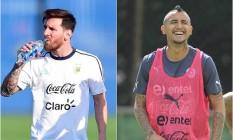 Messi e Vidal, adversários na final de 2015, voltam a se encontrar em lados opostos na decisão da Copa América Centenário Foto: Fotos de Alfredo Estrella e Bruno Magalhães / AFP e AP