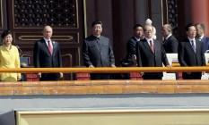 A partir da esquerda, o presidente da Coreia do Sul, Park Geun-hye, o presidente da Rússia, Vladimir Putin, e o presidente da China, Xi Jinping Foto: TAMURA/JAPAN NEWS/YOMIURI / THE WASHINGTON POST