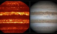 Imagem de Júpiter captada em infravermelho por telescópio gigante e outra em luz vísivel feita por astrônomo amador Foto: ESO/L.N. Fletcher/Damian Peach