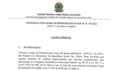 Trecho do laudo feito por peritos do Senado no processo de crime de responsabilidade da presidente Dilma Foto: Reprodução