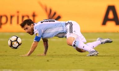 Messi no jogo entre Argentina e Chile, na final da Copa América Centenário: mais um vice-campeonato Foto: Mike Stobe / AFP