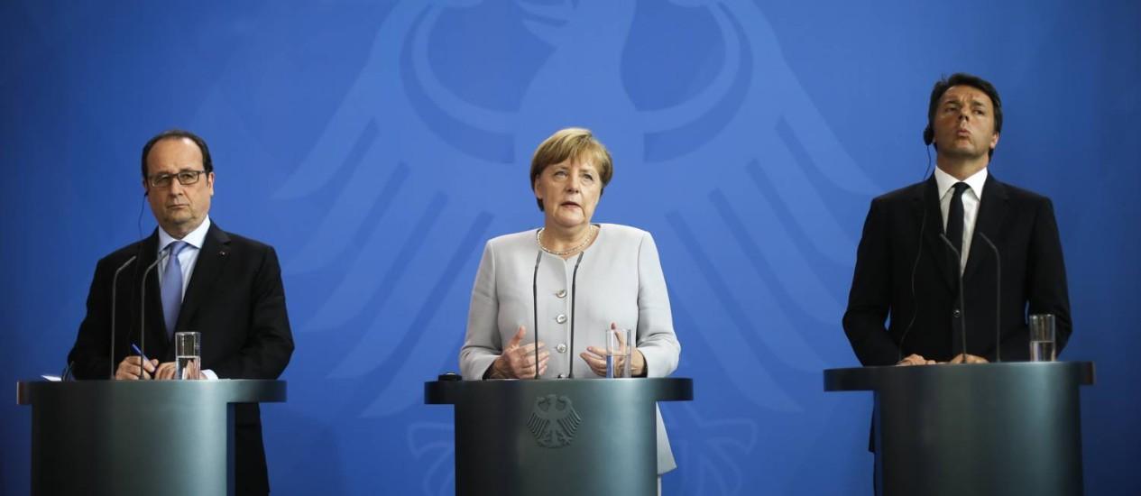 Hollande, Merkel e Renzi fazem pronunciamento conjunto sobre Brexit em Berlim Foto: Markus Schreiber / AP