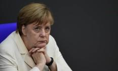Chanceler federal alemã, Angela Merkel, participa de sessão plenária especial no Parlamento alemão sobre o Brexit Foto: JOHN MACDOUGALL / AFP
