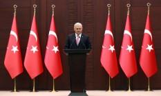 Primeiro-ministro turco, Binali Yildirim, fala em entrevista coletiva após reunião com Israel Foto: ADEM ALTAN / AFP
