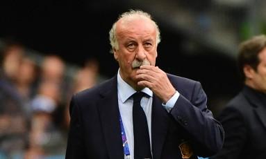 Vicente Del Bosque na derrota para a Itália, sua última partida no comando da Espanha Foto: PIERRE-PHILIPPE MARCOU / AFP