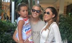 James Rodríguez apareceu de cabelo descolorido durante as férias com a família Foto: Reprodução/Instagram