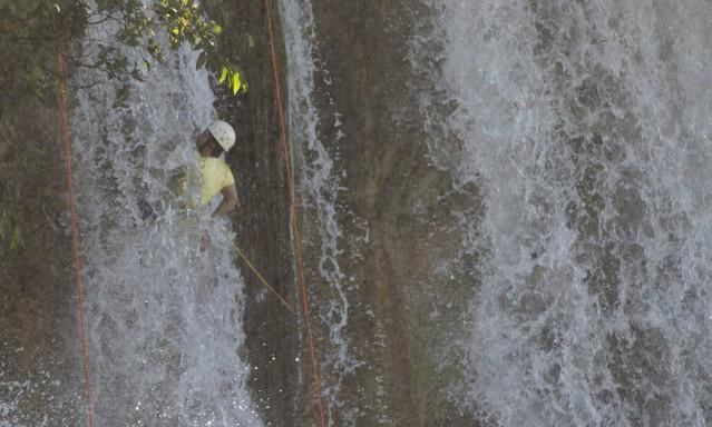 Salto Utiariti, formado pelas águas do rio Papagaio, na aldeia Utiariti, em Campo Novo do Parecis