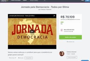 Projeto Jornada da Democracia no ar no Catarse Foto: Reprodução