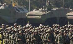 Apresentação da tropa de fuzileiros navais que vão atuar nos Jogos Foto: Pablo Jacob / Agência O Globo
